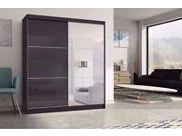 ▒▓【LIMITED OFFER】▓▒░ASHFORD High Gloss Sliding Door Wardrobe in Black / White - 2 COLOURS