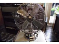 chrome retro room fan excellent condition 3 speed oscillating pat tested