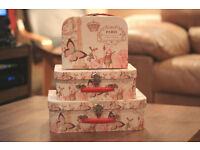 New Set of 3 x Vintage Chic Shabby Floral Paris Butterfly Storage Boxes Suitcase