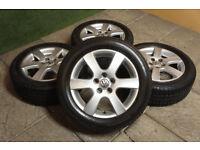 "Genuine VW Polo 15"" Charade Alloy wheels & Tyres 5x100 Ibiza Fabia Fox 9N"
