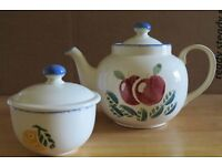 Poole Pottery Dorset Fruits Teapot and lidded sugar bowl