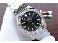 Audemars Piguet Royal Oak 41mm 15400 Diamonds Bezel Black Dial Bracelet