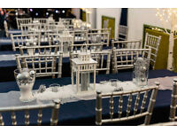 Navy table cloths, silver table runners and Navy/Silver ceiling drapes
