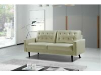 Furniture For Life-Mazz 2 Seater And 3 Seater Sofa Plush Velvet In Grey And Cream Color-