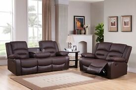 Miami Brown BRAND NEW Leather Recliner Sofa Set