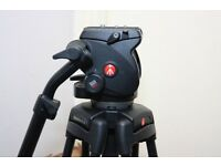 Manfrotto 503 HDV pro video head with manfrotto 525MVB two stage tripod+ bag
