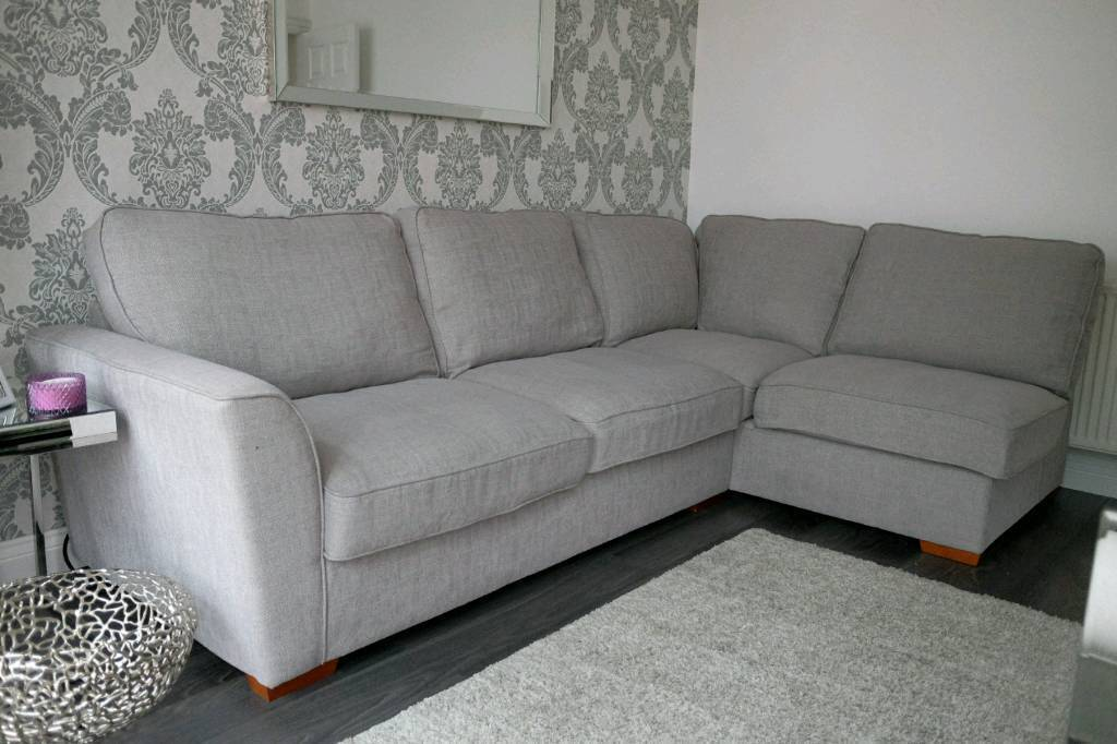 Grey Fabric Cloth Corner Sofa Removable Cushion Covers