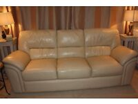HARVEYS CREAM 3+2+1 LEATHER SOFAS FOR SALE - FREE DELIVERY SOME AREAS - MUST GO ASAP - £375