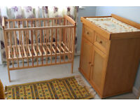 East Coast wooden CHANGING TABLE with storage, plus compact space saving COT BED, both in ex. cond.