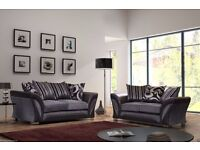 BRAND NEW ITALIAN CORNER SOFA 3 AND 2 SEATER IN GREY AND BROWN COLOUR