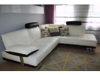 DFS Ivory right hand corner sofa with thickest leather