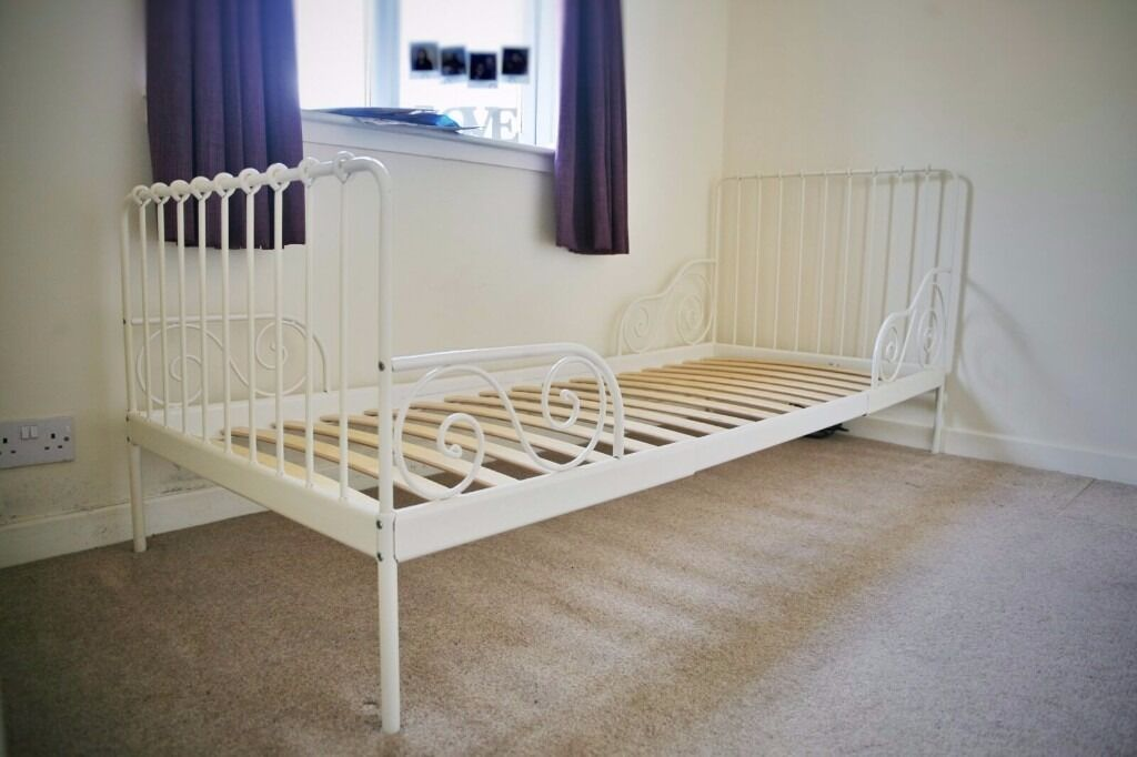 Ikea Minnen Cream Metal Extendable Bed Frame With Wooden