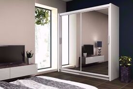 5 SIZES AND 4 COLORS NOW:: WOW::: BERLIN 2 DOOR SLIDING WARDROBE WITH FULLY MIRRORED -