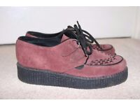Underground Wulfrun Ladies Creepers Purple Suede Size 5