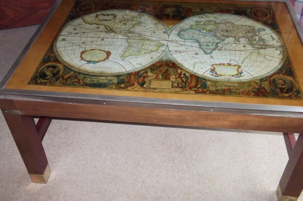 World Map Coffee Table Side Solid Mahogany Wood