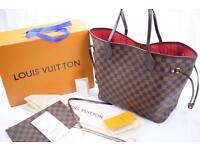 Louis Vuitton MM Neverfull women's designer lv bag in brown monogram red interior
