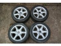Volkswagen 4 stud Wolfrace alloys with Brand New Tyres 15""