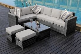 BRAND NEW Conservatory MODULAR 8 Seater Rattan Corner Sofa Set Garden Furniture