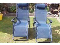 Two Garden chairs , recliner type