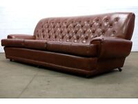 SCANDINAVIAN VINTAGE RETRO 1960's BROWN FAUX LEATHER CHESTERFIELD 3 SEATER SOFA *FREE UK DELIVERY*