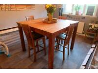 Wooden dining table bar 4 chairs stools large square rustic **add still up, still for sale**