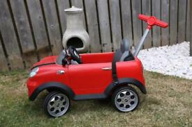 Kids foot push or adult handle push buggy Mini Cooper in Red