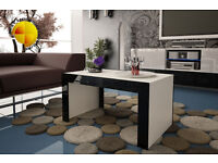 Modern High Gloss Coffee Table 120cm Stand White Matt & Black High Gloss Furniture - PCV edges
