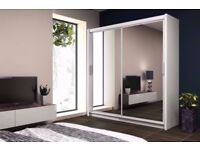 BRAND NEW GERMAN 2 OR 3 DOOR SLIDING WARDROBE FULL MIRROR + TWO RAILS IN DIFFERENT SIZES AND COLORS
