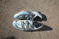 Clip-in cycling shoes with carbon sole, size 12