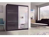 High Gloss Black -- 2 Door Sliding Wardrobe