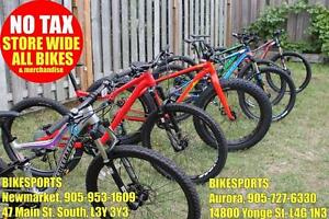 BIKESPORTS - NO TAX! BRAND NEW! Specialized & Giant Mountain MTB and Fat Bikes!