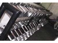 DUMBBELLS FULL SET OF CAST IRON GYM WEIGHTS 2-50KG
