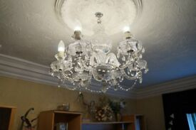 Antique crystal, six arm chandelier & crystal wall lights included in price