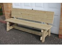 NEW HANDMADE FURNITURE BUILT TO ORDER WOODEN 1.8m GARDEN/PATIO BENCH
