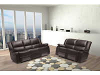 SAN DIEGO 3 AND 2 SEATER LEATHER SOFA - BLACK AND BROWN