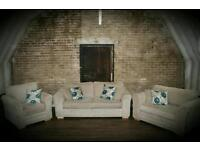 NEW 3 SEATER SOFA, LARGE SNUG AND ARMCHAIR