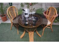Beautiful Table With 2 Matching Chairs As New.Country Cane Conservatory Kitchen Furniture £79 ONO