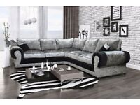 Express Delivery Brand New Tango Crushed Velvet Corner Sofa On Special Offer