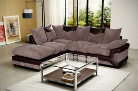 !!HUGE BARGAIN OFFER!!DINO CORNER SOFA JUMBO CORD GREY BLACK OR BEIGE BROWN LEFT OR RIGHT FREE STOOL