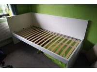 White SINGLE BED with MATTRESS (90 x 200) for sale - NON SMOKERS HOUSE, VERY CLEAN, GOOD CONDITION