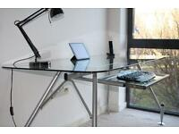Large glass top computer Desk