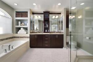 Luxurious bathroom floor - Forna's 100% cork glue down tiles are perfectly for laundry rooms too, water resistant,