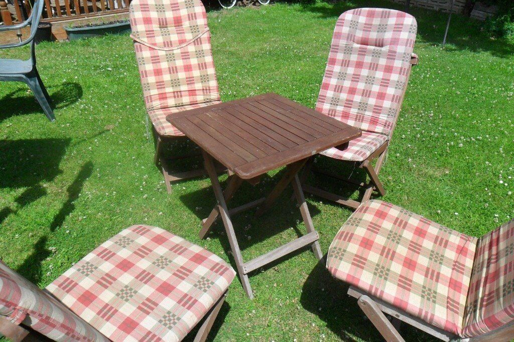 Folding Wooden Square Garden Table And Four Folding Chairs
