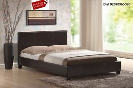 ♦♦♦SUPERB BLACK OR BROWN FINISH♦♦♦ FLAT-PACKED FRAME! DOUBLE LEATHER BED with OR WITHOUT MATTRESS