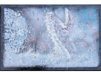 Large ORIGINAL HAND PAINTED ABSTRACT 1m x 1.2m solid wood embedded frame