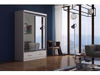 NEW *** 2 DOOR MARGO SLIDING WARDROBE FULLY MIRROR WITH SHELVES AND HANGING RAILS