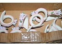 Vintage Set Napkin holders rings x 10 white floral ceramic dining elegant retro