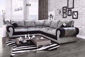 *** XMAS OFFER *** BRAND NEW TANGO CRUSHED VELVET CORNER SOFA OR 3+2 EXPRESS DELIVERY