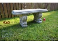 Garden bench stone ornament