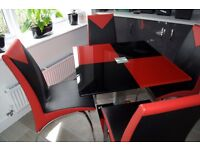 Red and Black Glass Table with 4 Chairs